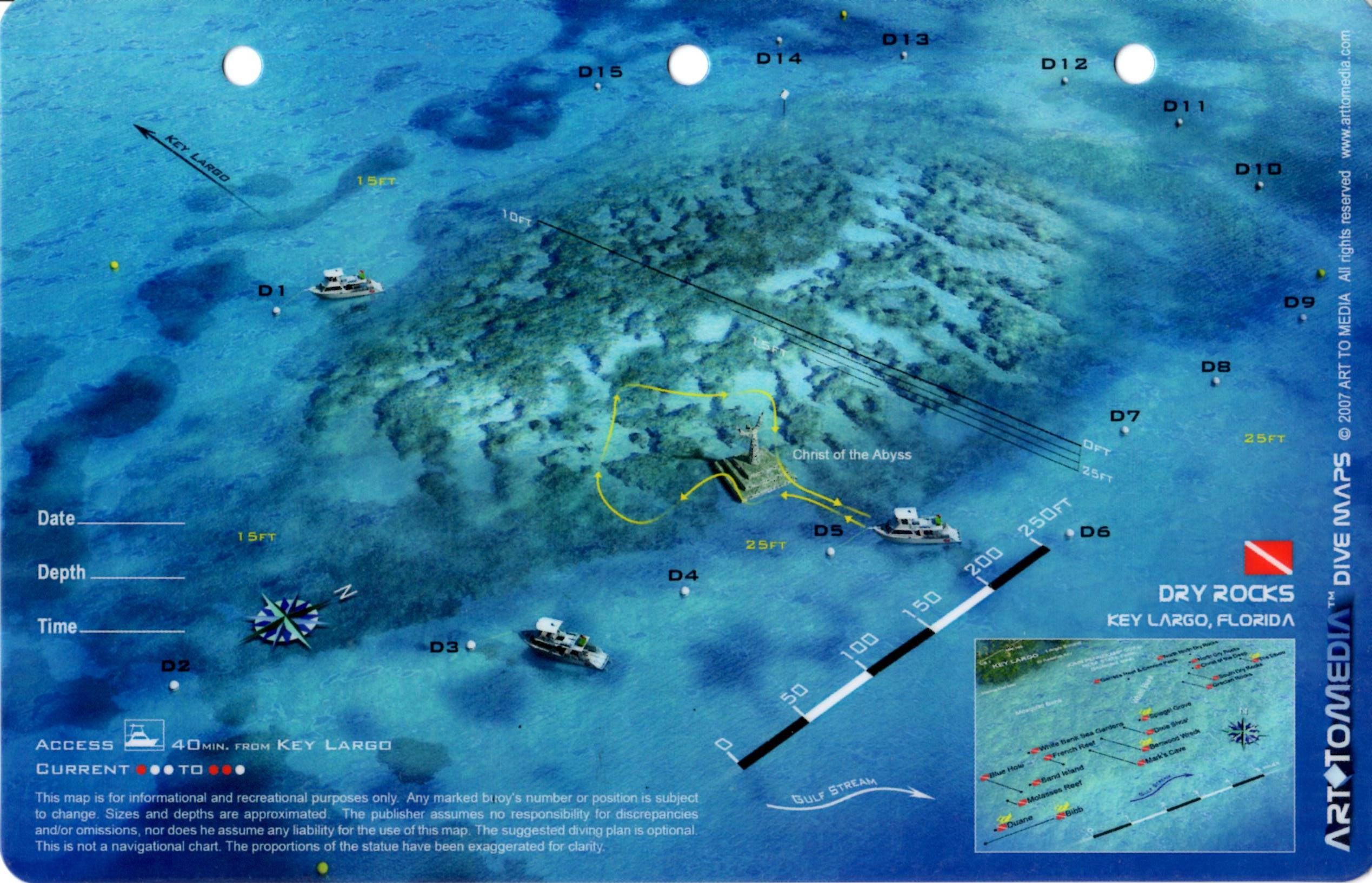 Dry Rocks Christ Of The Abyss Key Largo 3d Dive Site Card