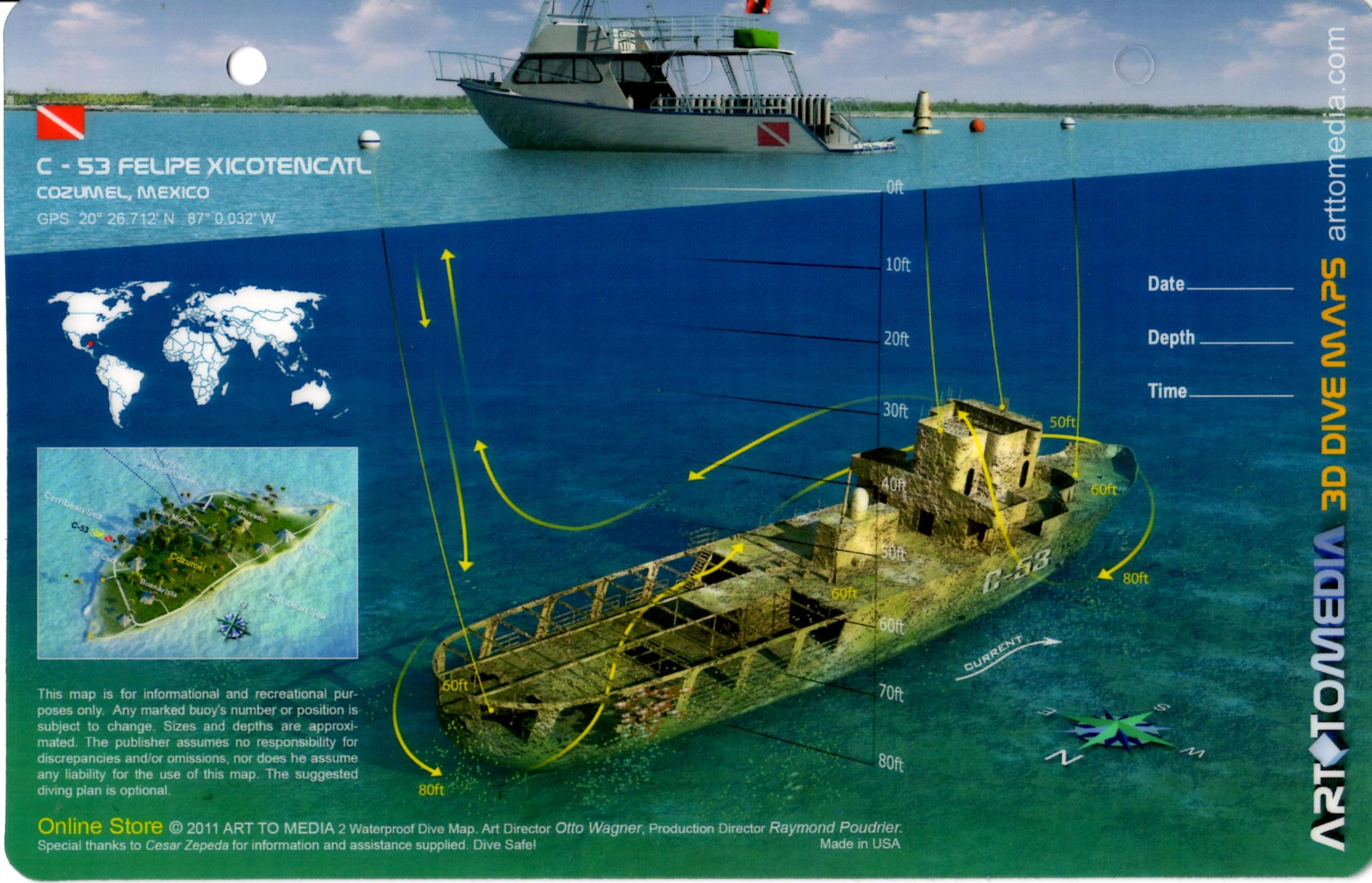 53 Felipe Xicotencatl Cozumel 3D Dive Site Card