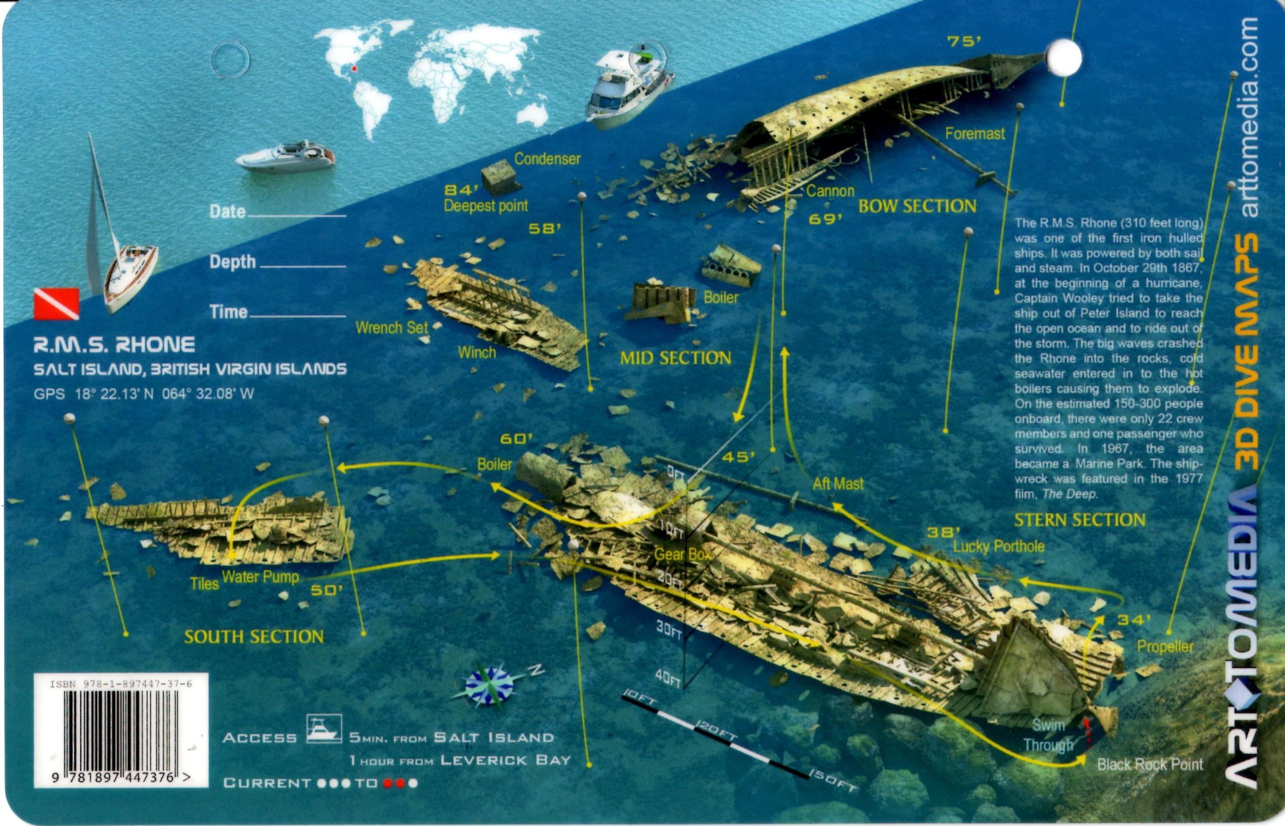 Rms Rhone Salt Island 3d Dive Site Card