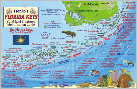 Map Florida Keys.Florida Keys Map Fish Id Card