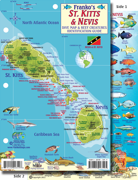 Kitts Nevis Map Fish ID Card - Saint kitts and nevis map