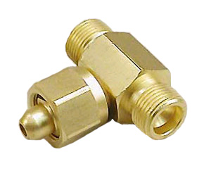 Air Tee Adapter - CGA 346 - Female to Male to Male, Brass