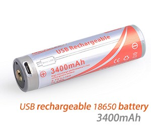 18650 Battery - 3400mAh - USB Rechargeable Battery