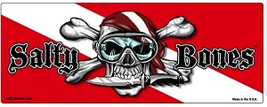 "Dive Flag with Skull, Knife, & Dive Flag Sticker - 3"" x 7.8"""