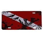 Dive Flag with Elkhorn Coral and Diver License Plate - Metal