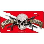 Salty Bones on Dive Flag License Plate - Metal