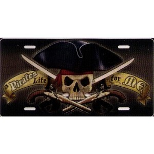 "Pirate with ""A Pirate's Life for Me"" License Plate - Metal"