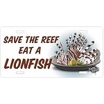 Salty Bones License Plate - Save a Reef, Eat a Lionfish