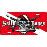 Dive Flag with Skull and Crossed Spearguns License Plate - Metal