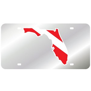 Silver with Florida Dive Flag Mirror License Plate