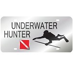 Silver with Underwater Hunter Mirror License Plate
