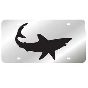 Silver with Mako Shark Mirror License Plate