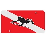 Dive Flag with Spearfisher Mirror License Plate