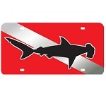 Dive Flag with Hammerhead Shark Mirror License Plate