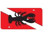Dive Flag with Lobster Mirror License Plate