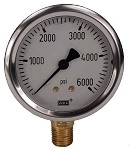 0-6000 PSI Liquid Filled Gauge with Bottom Post