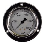 0-6000 PSI Liquid Filled Gauge with Back Post & Flange