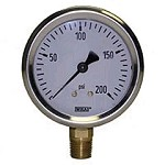 0-200 PSI Liquid Filled Gauge with Bottom Post
