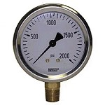 0-2000 PSI Liquid Filled Gauge with Bottom Post