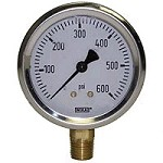 0-600 PSI Liquid Filled Gauge with Bottom Post