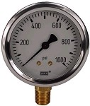0-1000 PSI Liquid Filled Gauge with Bottom Post