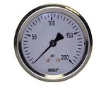 0-200 PSI Liquid Filled Gauge with Back Post