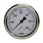 0-600 PSI Liquid Filled Gauge with Back Post