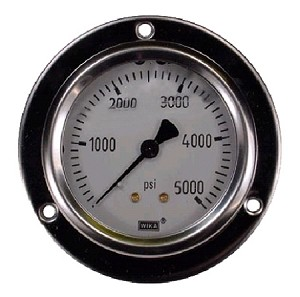 "0-5000 PSI Liquid Filled Gauge with Back Post and Flange - 4.0"" Face"