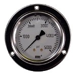 0-5000 PSI Liquid Filled Gauge with Back Post and Flange - 4.0