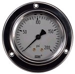 0-200 PSI Liquid Filled Gauge with Back Post & Flange