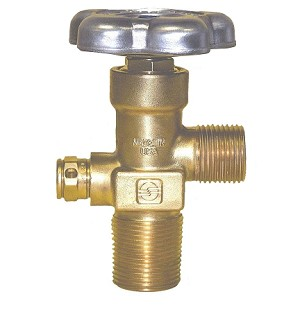 "GV Style CGA 347 Cylinder Valve - Air, 4500 PSI - Taylor-Wharton with 3/4"" 14 NGT with 24 thread - OVERSIZE"