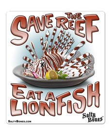 Salty Bones Sticker, Save the Reef, Eat a Lionfish