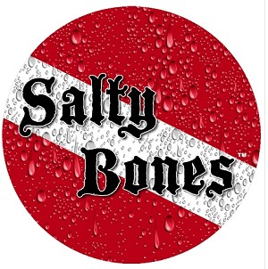 "Salty Bones Dive Flag Sticker - 5.5"" Circle"
