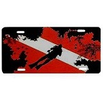 Dive Flag with Coral and Diver License Plate - Metal