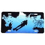 Blue Water with Coral and Diver License Plate - Metal