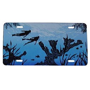 Blue Water with Elkhorn Coral and Diver License Plate - Metal