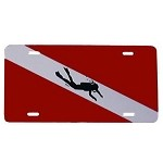 Dive Flag with Diver License Plate - Metal