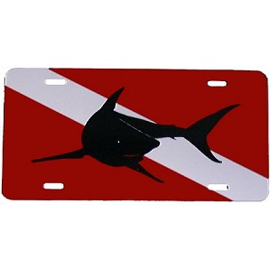 Dive Flag with Mako Shark License Plate - Metal