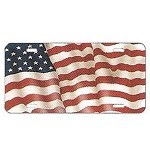 American Flag License Plate - Metal