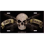 Salty Bones on Black License Plate - Metal