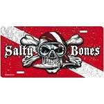 Dive Flag with Skull and Waterdrops License Plate - Metal