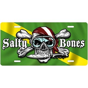 Nitrox Flag with Skull License Plate - Metal