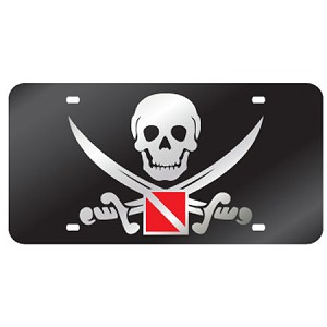 Black with Buccaneer Mirror License Plate