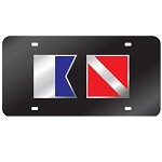 Black with Dive and Alpha Flag Mirror License Plate