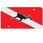 Dive Flag with Diver Mirror License Plate