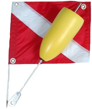 2 Piece Torpedo Float with Vinyl Flag