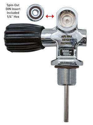 Thermo 200 Bar Pro Valve - Din Valve with Yoke Insert Adapter - 3/4 x 14 Threads