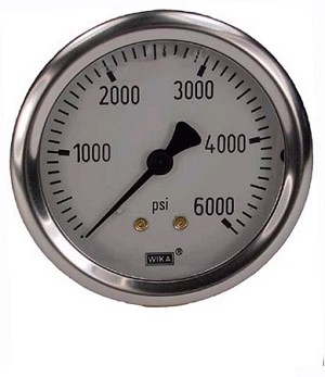 0-6000 PSI Liquid Filled Gauge with Back Post