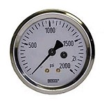 0-2000 PSI Liquid Filled Gauge with Back Post