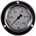 0-2000 PSI Liquid Filled Gauge with Back Post & Flange